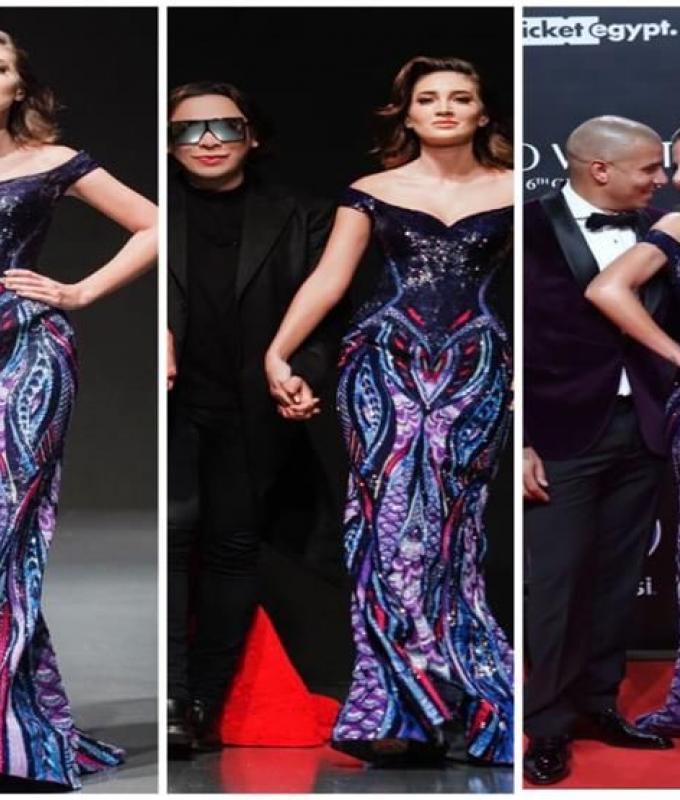 """""""بـ70 مليون جنيه؟"""".. السعر الحقيقي لفستان زوجة محمد زيدان في ختام مهرجان الجونة"""