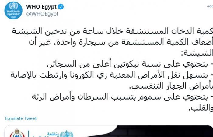 منظمة الصحة العالمية بمصر تحذر من تدخين الشيشة: تسهل نقل كورونا