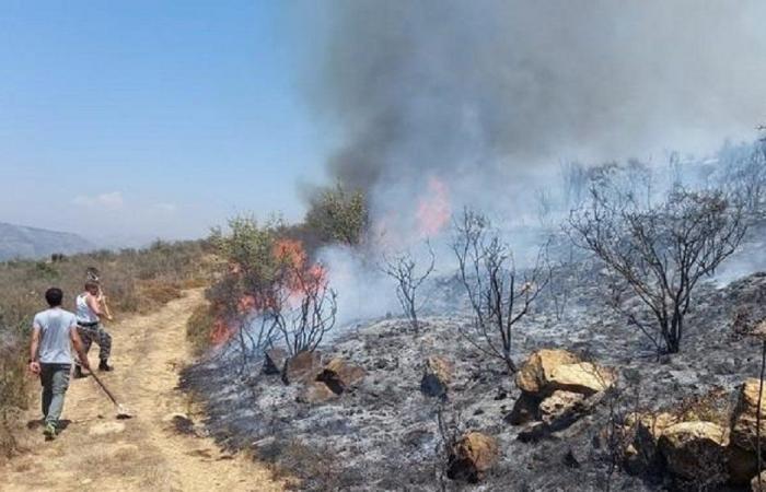 حريق كبير في تلة الصليب في دير القمر (صور)
